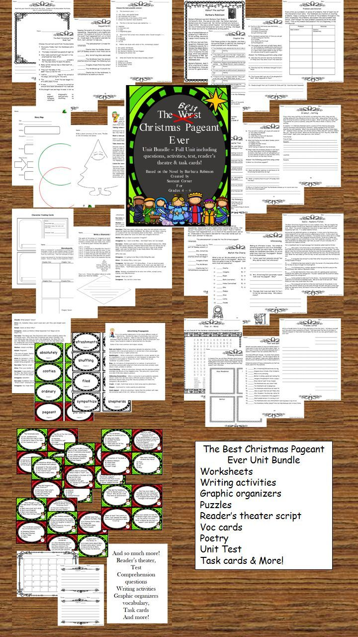 worksheet The Best Christmas Pageant Ever Worksheets best christmas pageant ever literature unit bundle barbara park bundle