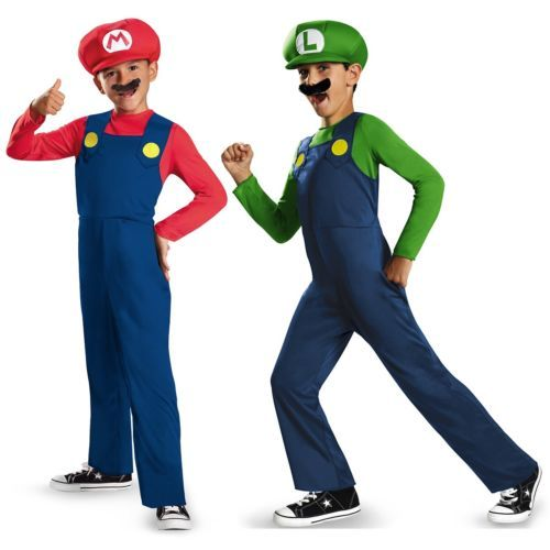 Mario and Luigi Costumes Kids Super Mario Bros Halloween Fancy Dress  sc 1 st  Pinterest & Mario and Luigi Costumes Kids Super Mario Bros Halloween Fancy Dress ...