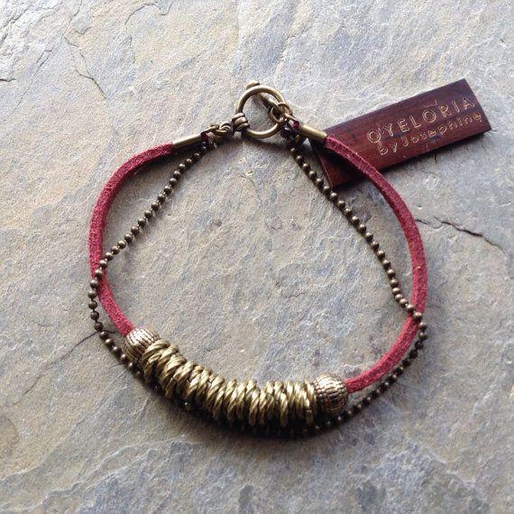 Brass links bracelet with suede Burgundy wine red by Oyeloria