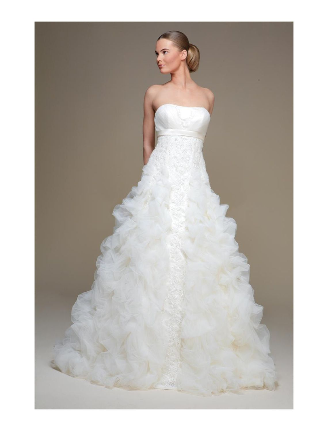 Aline wedding dress  Ivory Strapless Embroidered Chapel Train Taffeta Organza Aline