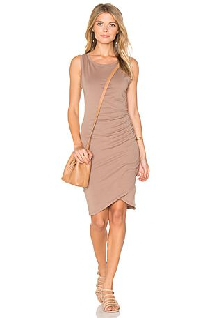 Bobi Supreme Jersey Ruched Bodycon Dress In Java Revolve