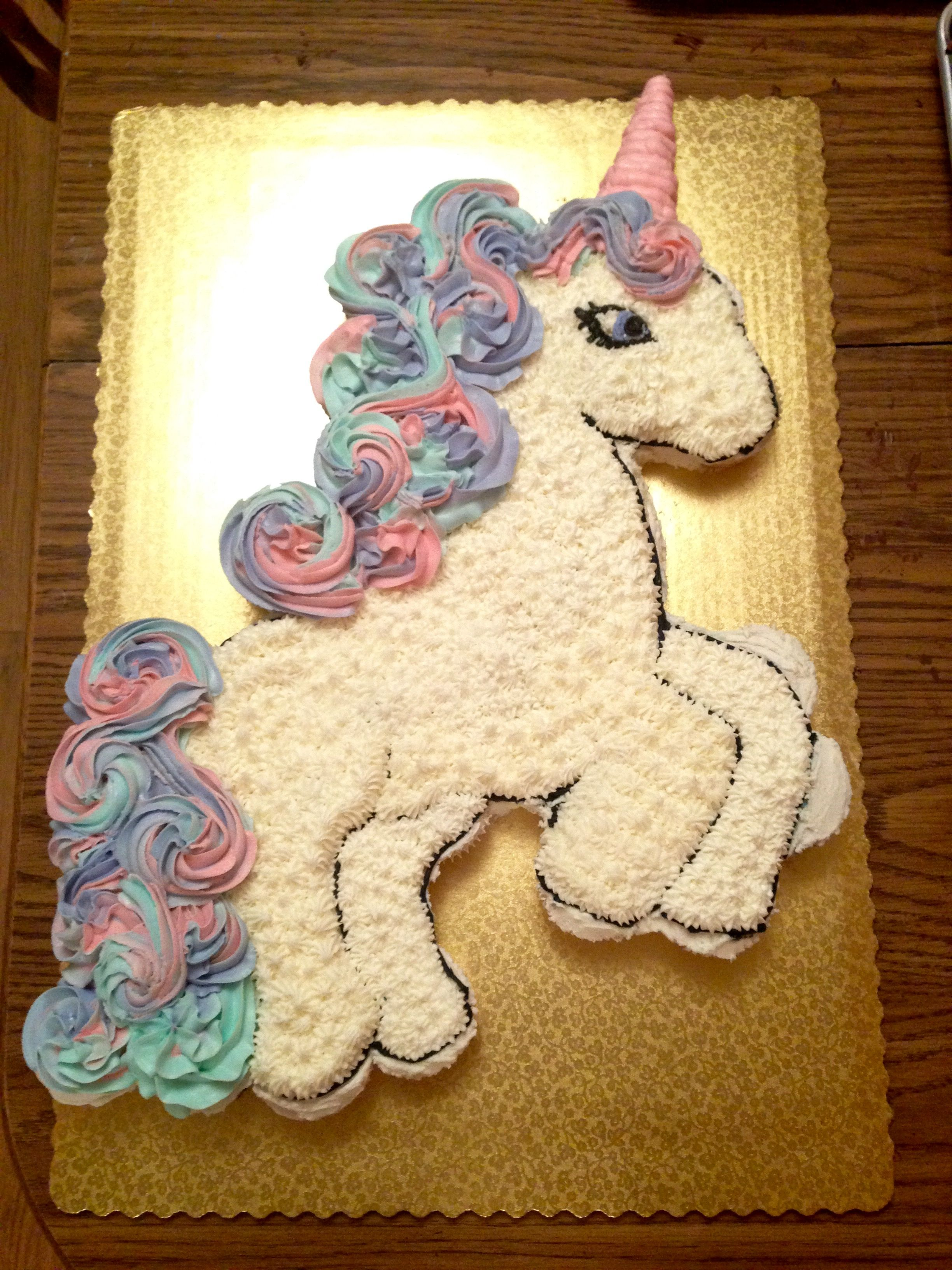 Unicorn Cupcake Cake Used About 40 Cupcakes In Both Vanilla And