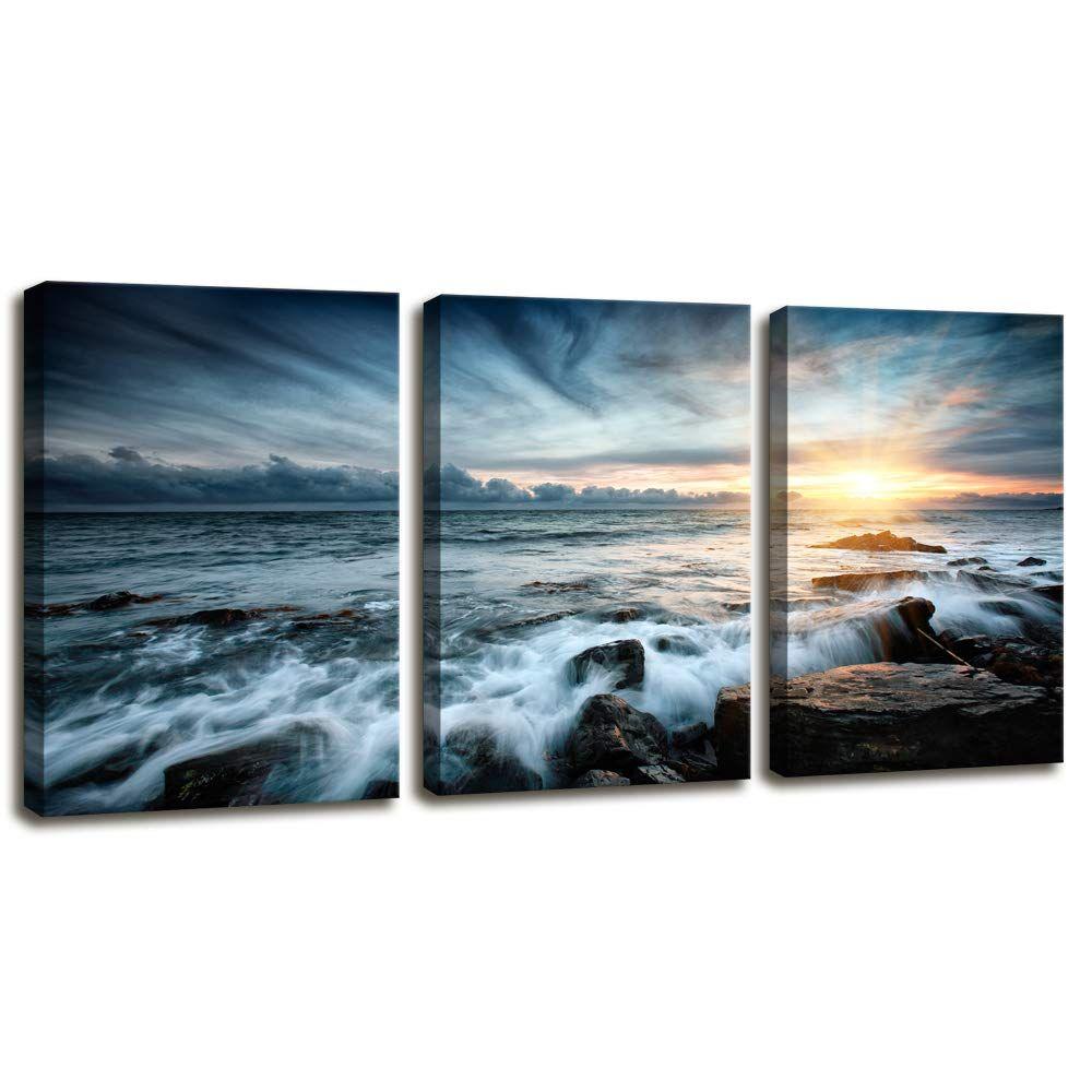 3 Piece Canvas Prints Wall Art Beach Sunset Ocean Waves Nature