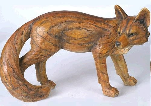 Large Fox Statue Resin Fox Statue Large Fox Carved Wood Carved