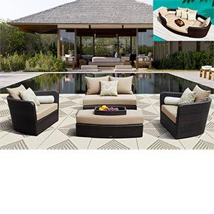 Merveilleux $1,599.99 Venice 4 Pc Modular Deep Seating Lounge Set By Sirio™ Creates  Multiple Seating Configurations, All Weather Resin Wicker And Sunbrella®  Fabric