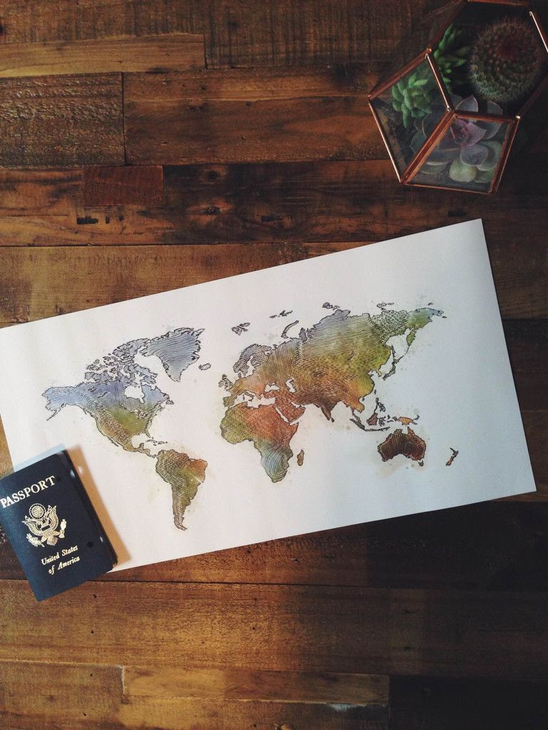 Hand-drawn and painted watercolour world map. This would look great hanging over my desk.