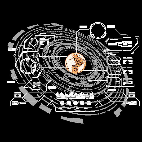 HUD Elements, futuristic user interface templates on Wacom
