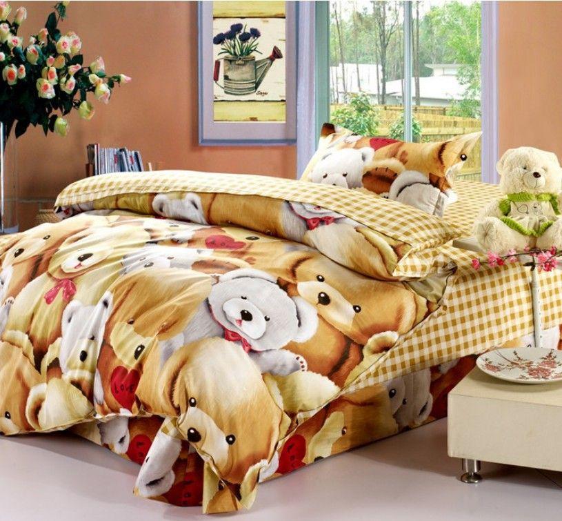 Lovely Teddy Bears Hug Kids Bedding Sets Children Comforter Cover