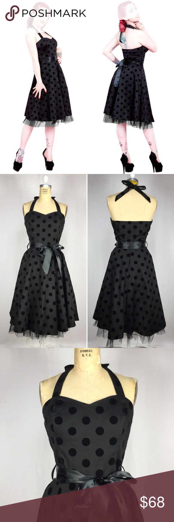 Flocked velvet polka dot rockabilly swing dress rockabilly polka