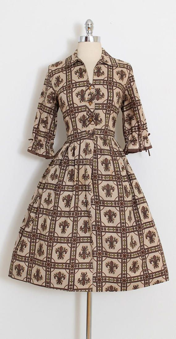 ➳ vintage 1950s dress * adorable fleur de lis print cotton * button front closure * cropped sleeves with ties condition | excellent fits like large length 42 bodice length 16 bust up to 40 waist 31-32 hem allowance 2 ➳ shop http://www.etsy.com/shop/millstreetvintage?ref=si_shop ➳ shop policies http://www.etsy.com/shop/millstreetvintage/policy twitter | MillStVintage facebook | millstreetvintage instagram | millstreetvintage 5899/...