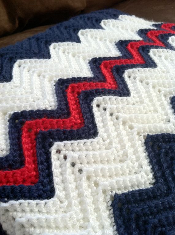 Crochet Ripple Afghan In Navy Blue White By
