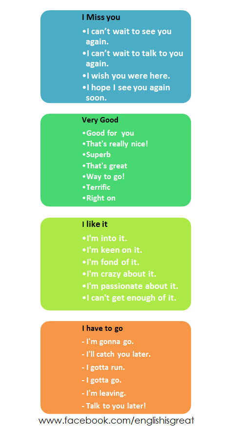 Expressions in English for English speaking practice - Other ways to say...