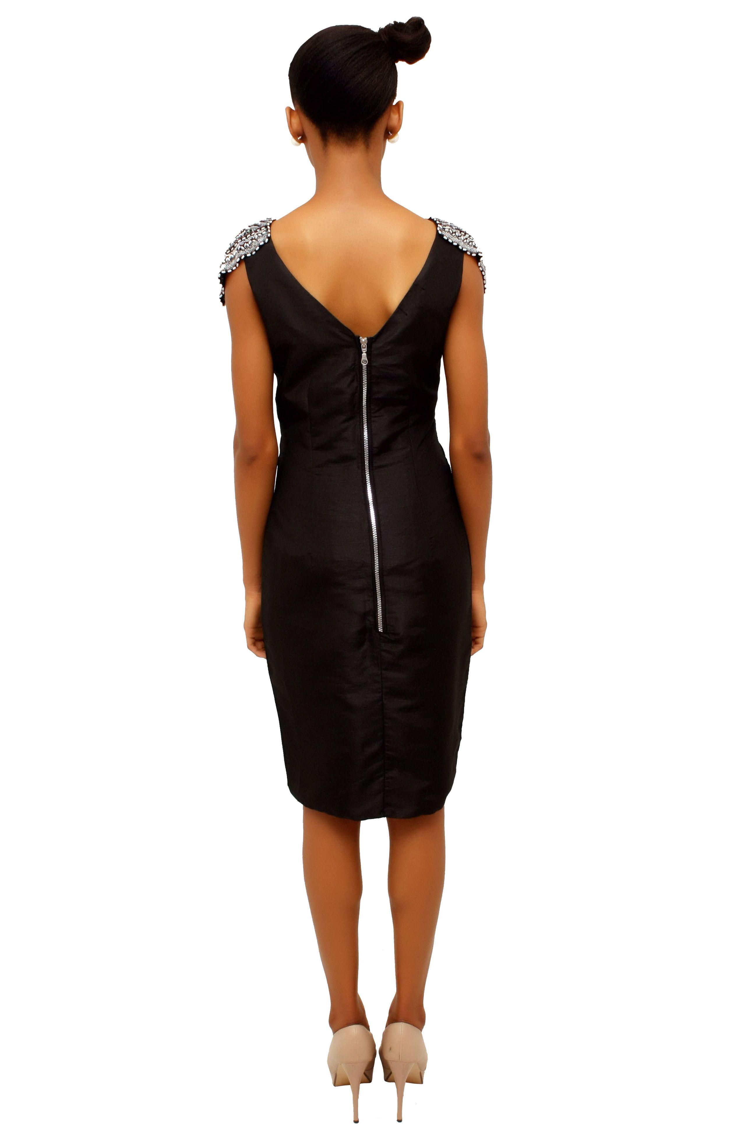 Shoulder Patch Dress Awesome Metal Zipper Up The Back Patch Dress Fashion Little Black Dress [ 3888 x 2592 Pixel ]
