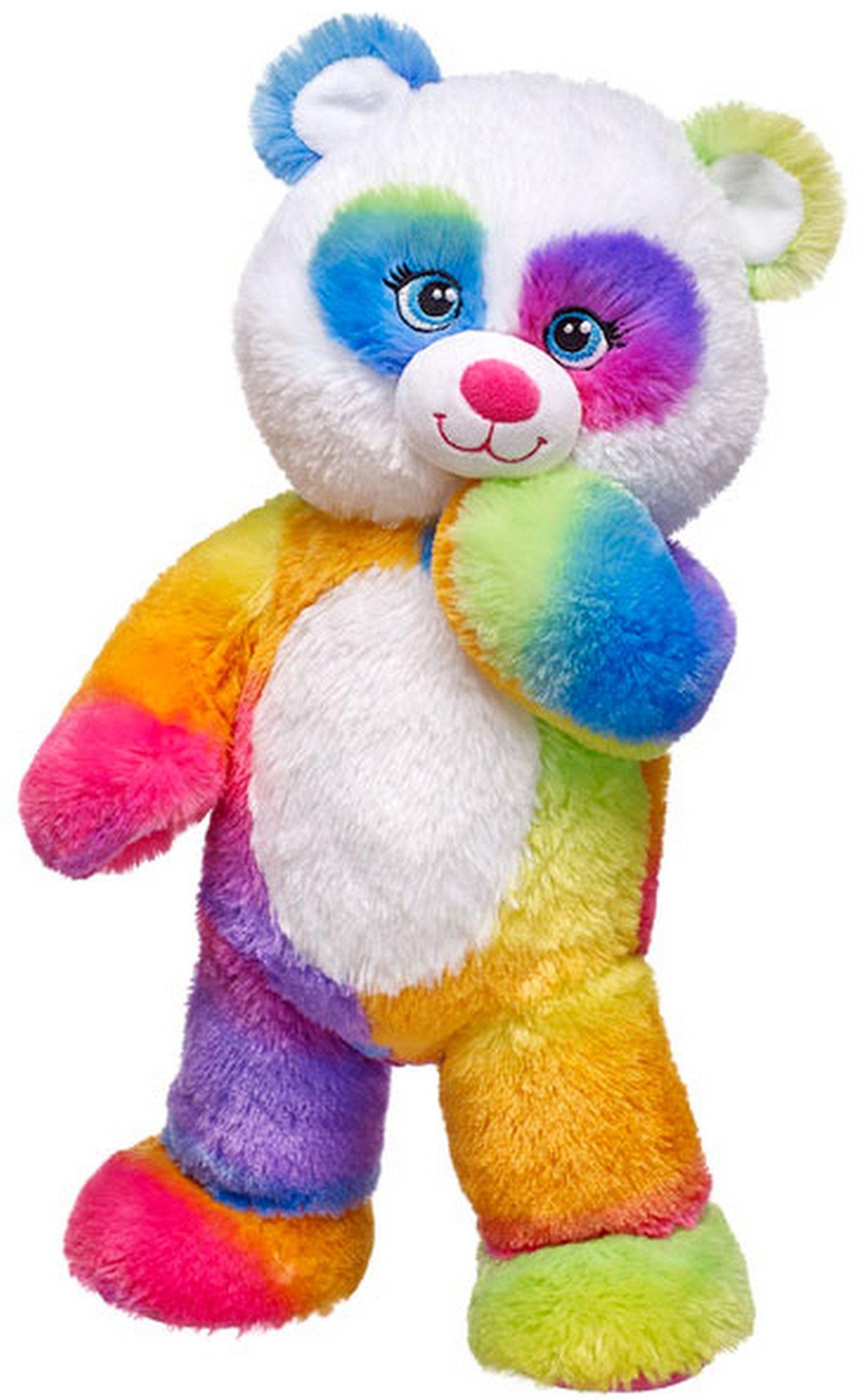NEW Build a Bear Pop of Color Rainbow Panda Teddy 16 in