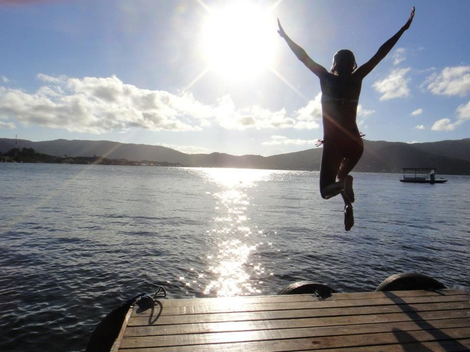 Jumping off the dock.whoo hoo Summer to do list