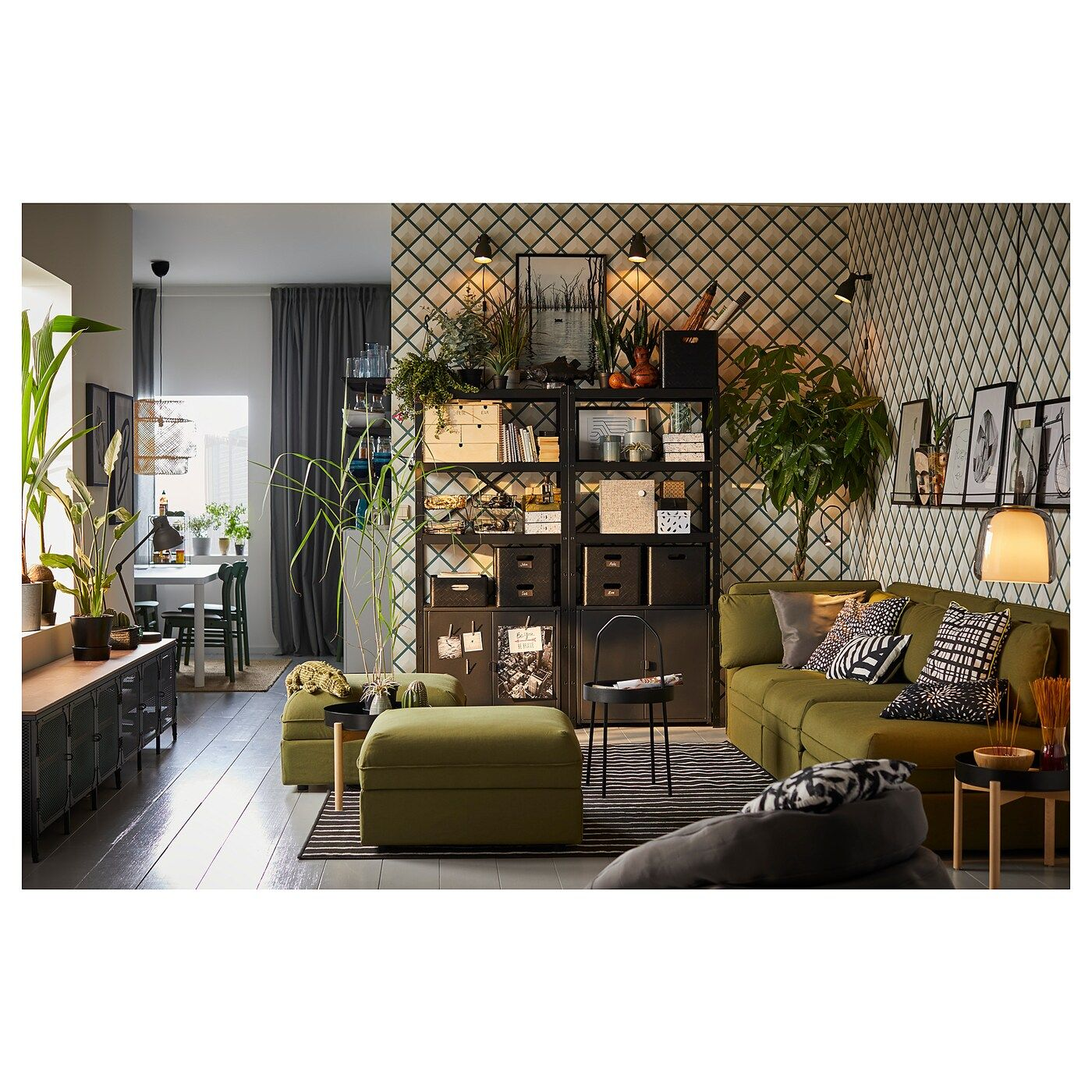 IKEA - BROR Shelving Unit With Cabinets Black