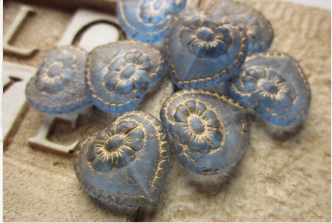 Czech Glass Victorian Heart Bead Sapphire Gold Etching 17mm QTY 4 by gypsybeadpeddler on Etsy https://www.etsy.com/listing/111439552/czech-glass-victorian-heart-bead