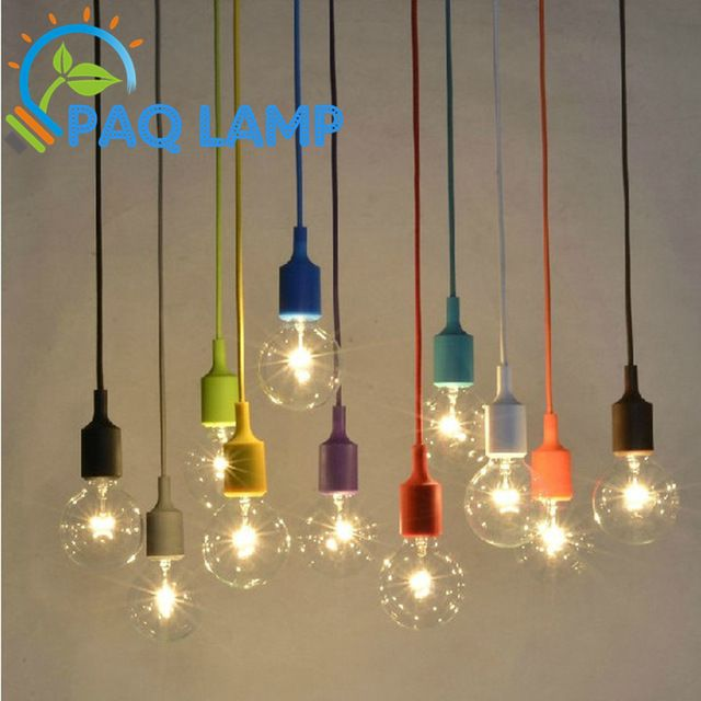 Muuto Lights E27 E26 Socket Chandelier Lamp Led Light Fixture Hanging Color Line Silicone Holde Vintage Light Bulbs Pendant Ceiling Lamp Hanging Light Fixtures
