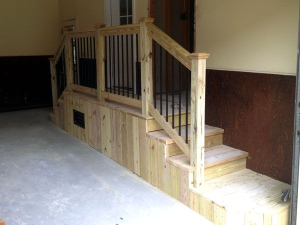 Garage Stairs With Landing Bing Images Garage Stairs Garage | Basement Stairs In Garage | Deck | Outside | Back | Epoxy Coating | Easy Diy