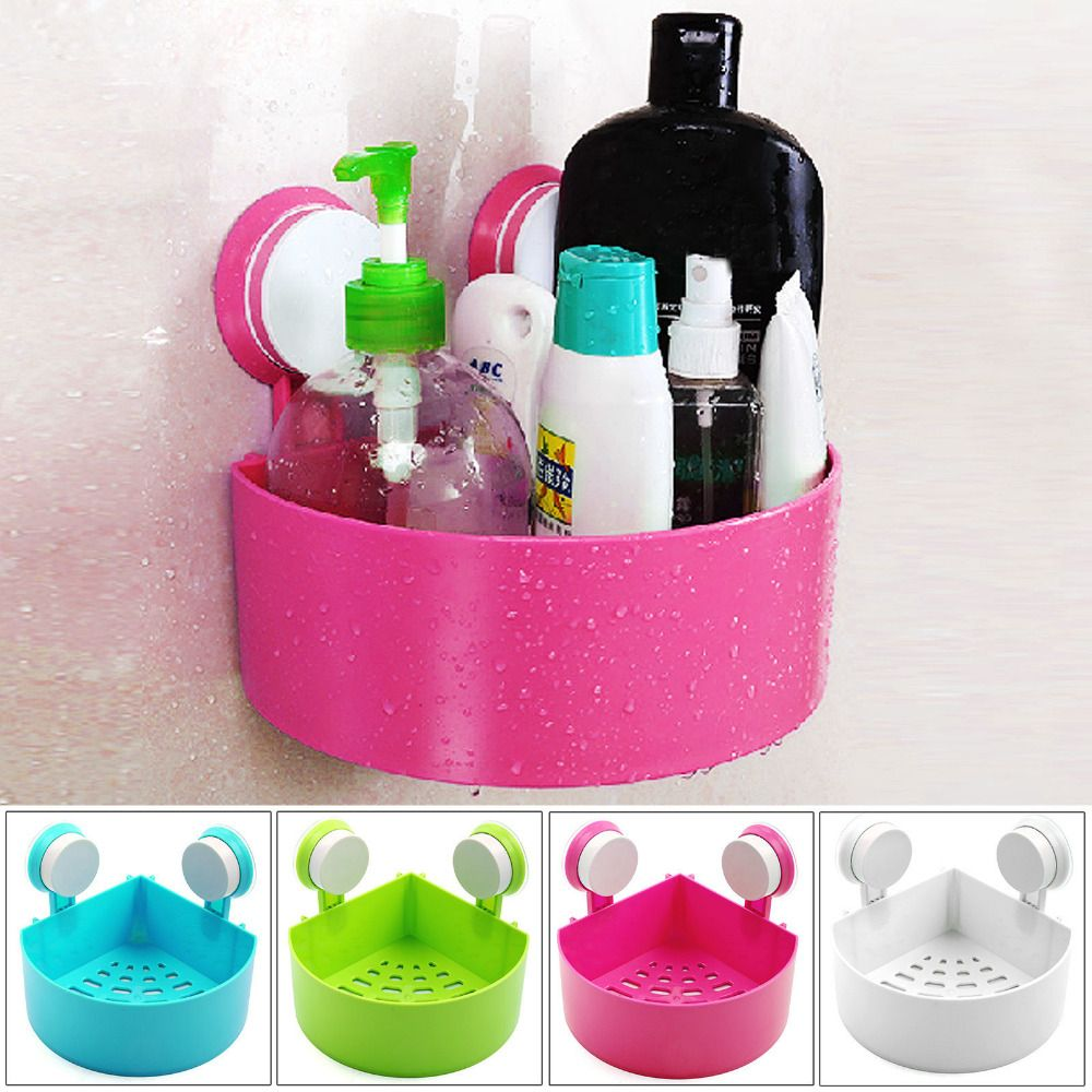 Bathroom Kitchen Corner Shelf With Suction Shower Rack Organizer Cup  Storage Wall Mounted Basket Cup Tidy