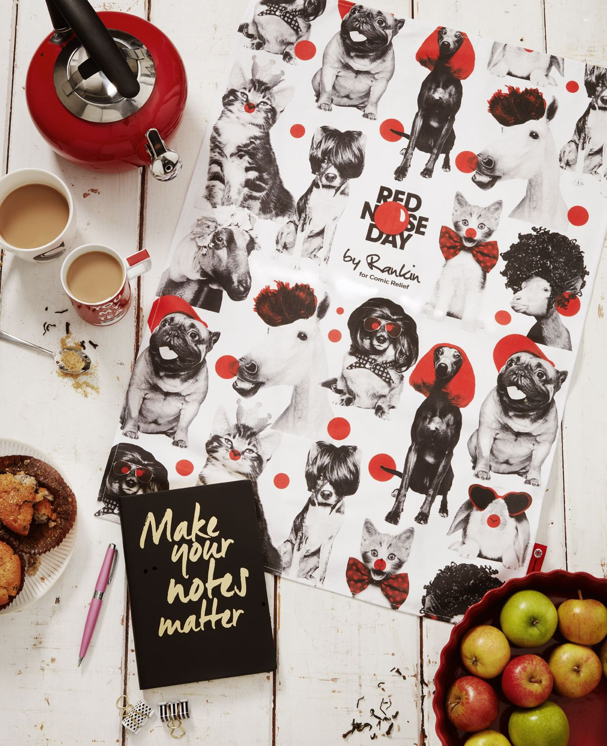 Limited-edition, tea-towel featuring Charlie, Eleanor, Albert, Florence, Alfie, Dorris, Sidney, Coco, Jonny and Bertie, and created exclusively for Red Nose Day by renowned fashion and portrait photographer, Rankin.  Available at limited Homesense UK stores.