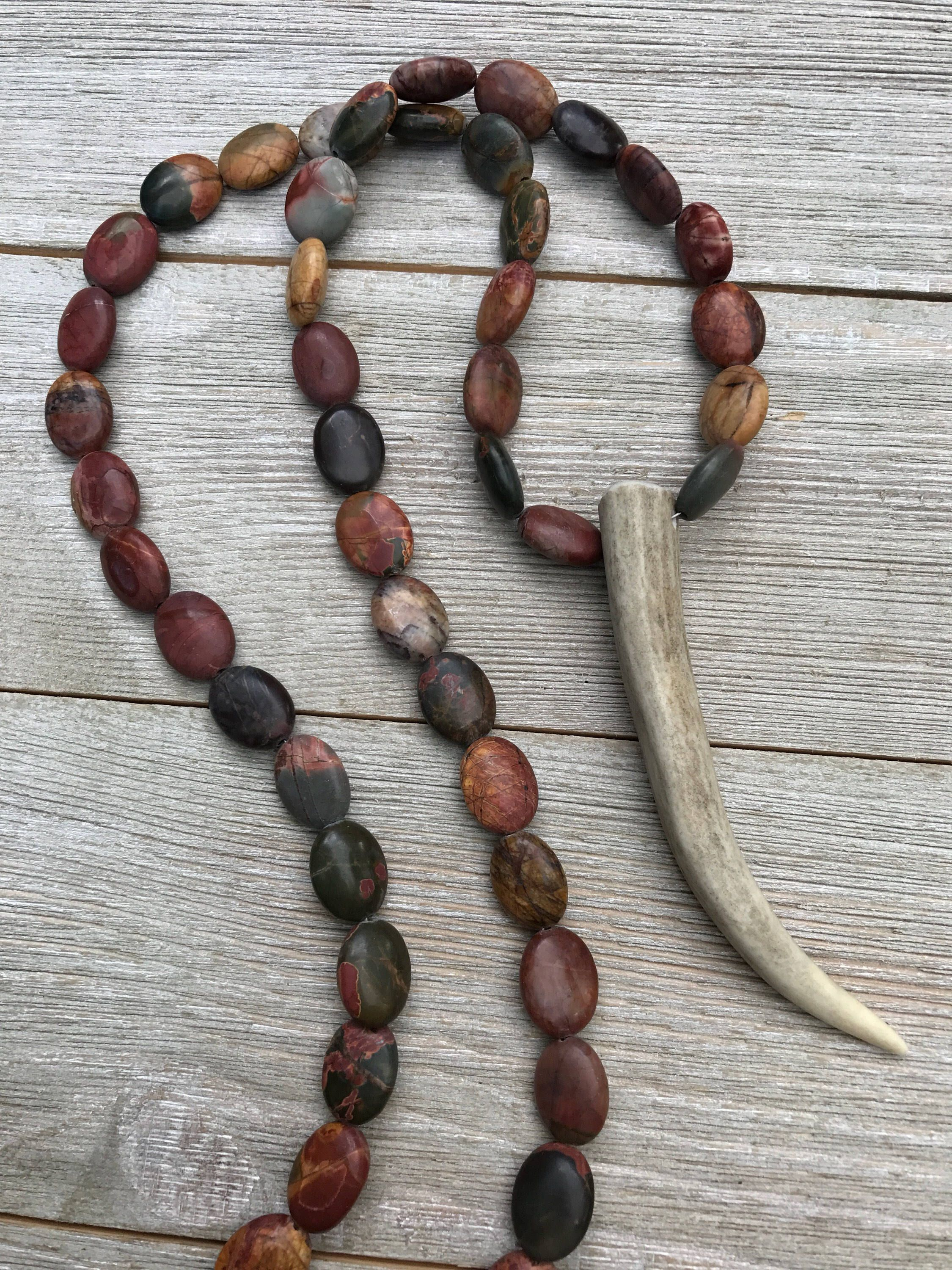 antler real deer tine beaded designs by necklace horn jewelry mindi