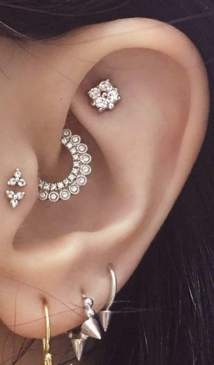 Photo of Clover crystal flower ear piercing jewelry 16G silver earrings #flower #krist …..