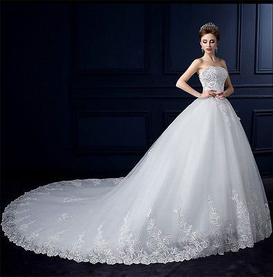 New White Strapless Wedding Dress Bridal Ball Gown Back Lace-up