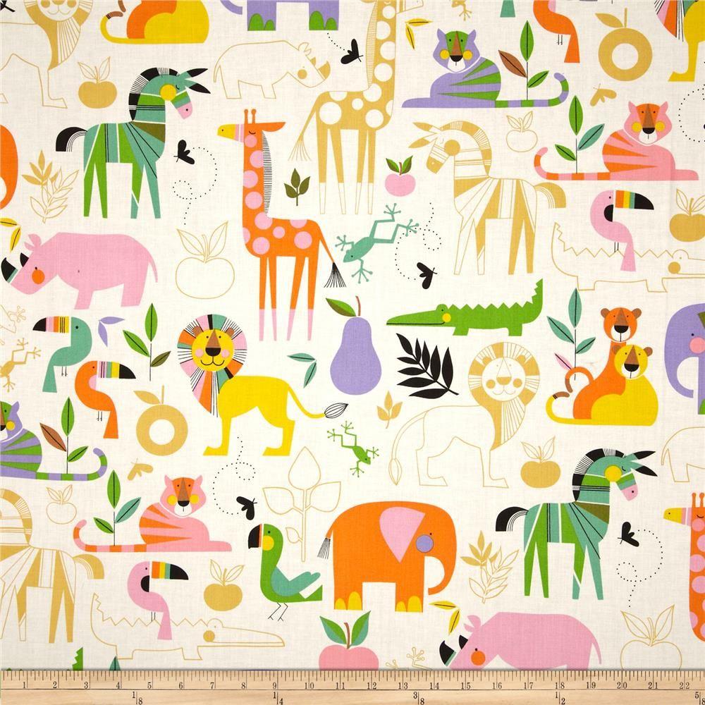 Alexander henry monkey 39 s bizness zoo bisou nat brite for Baby monkey fabric prints
