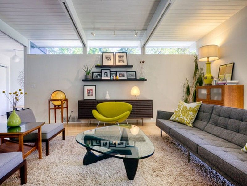 Stunning Modern Furniture Decorating Ideas For Artistic Living Room  Midcentury Design Ideas With Exposed Beams Floating Shelves Glass Coffee  Table Green ...