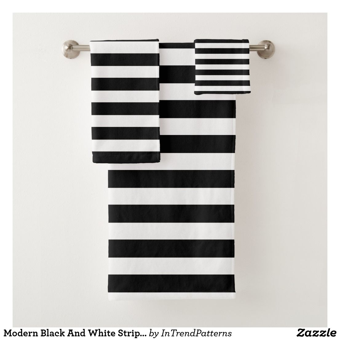 Modern Black And White Striped Bath Towel Set in 2020 ...