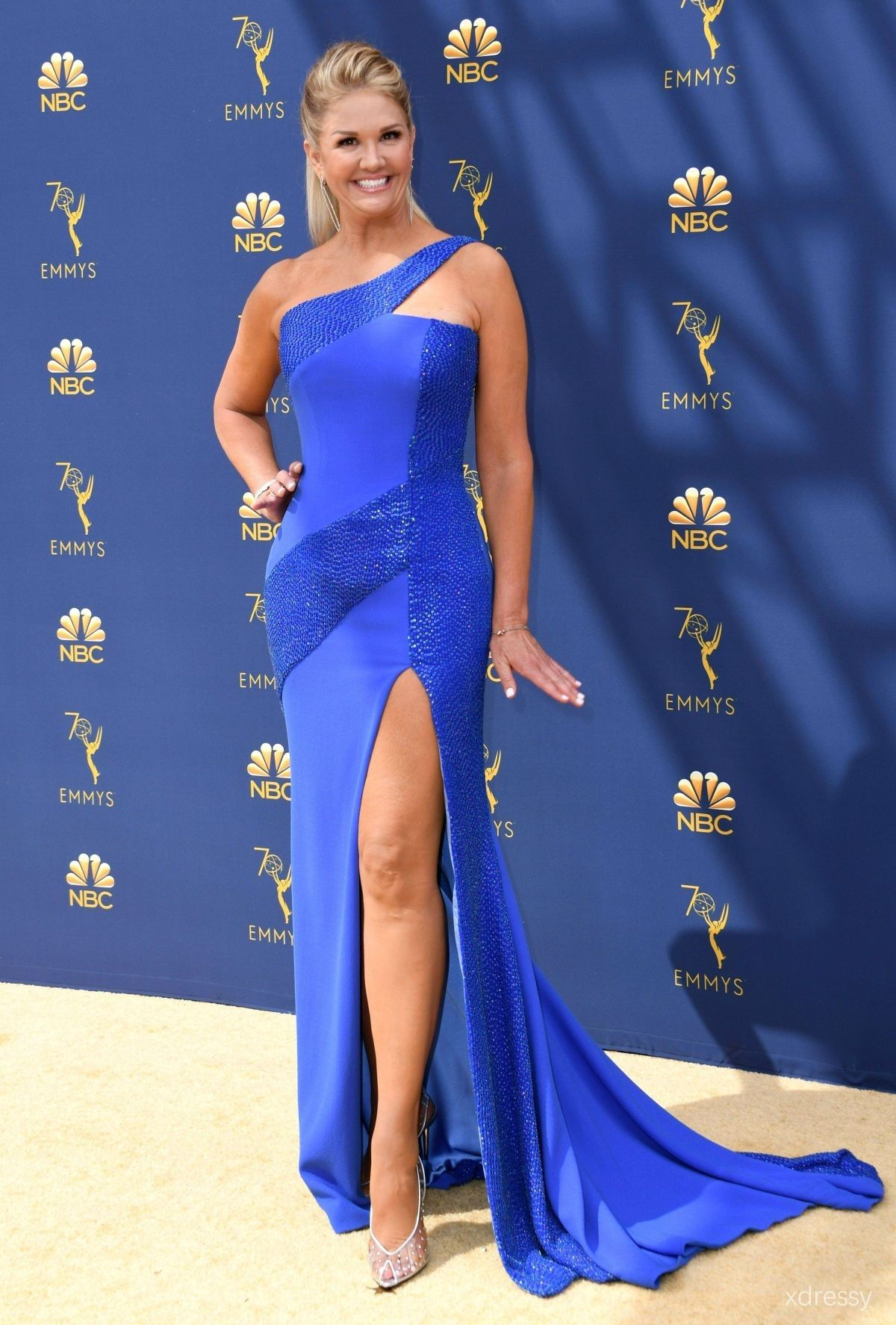 2af6ec43ab Nancy O Dell Asymmetrical Single Shoulder Strap Beaded Royal Blue  Thigh-high Slit Prom Dress Emmys 2018 Red Carpet