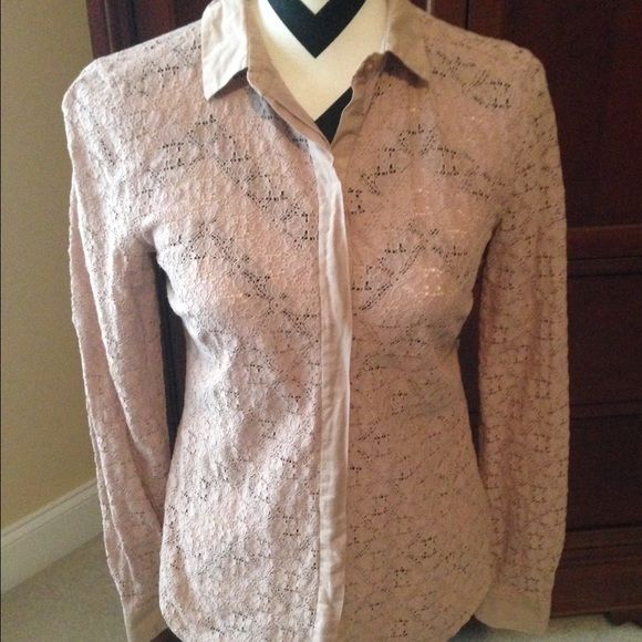 LOFT dark beige blouse size small Never wore this. Very cute blouse LOFT Tops Blouses