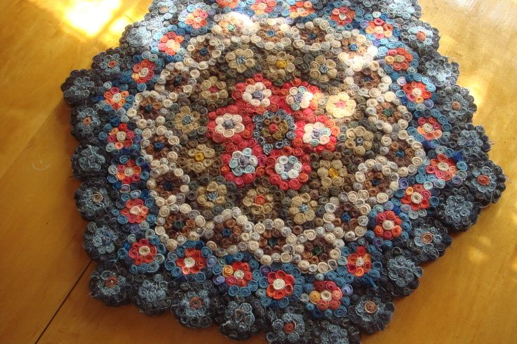 Rolled Wool Circles In The Shape Of A Penny Rug Note From