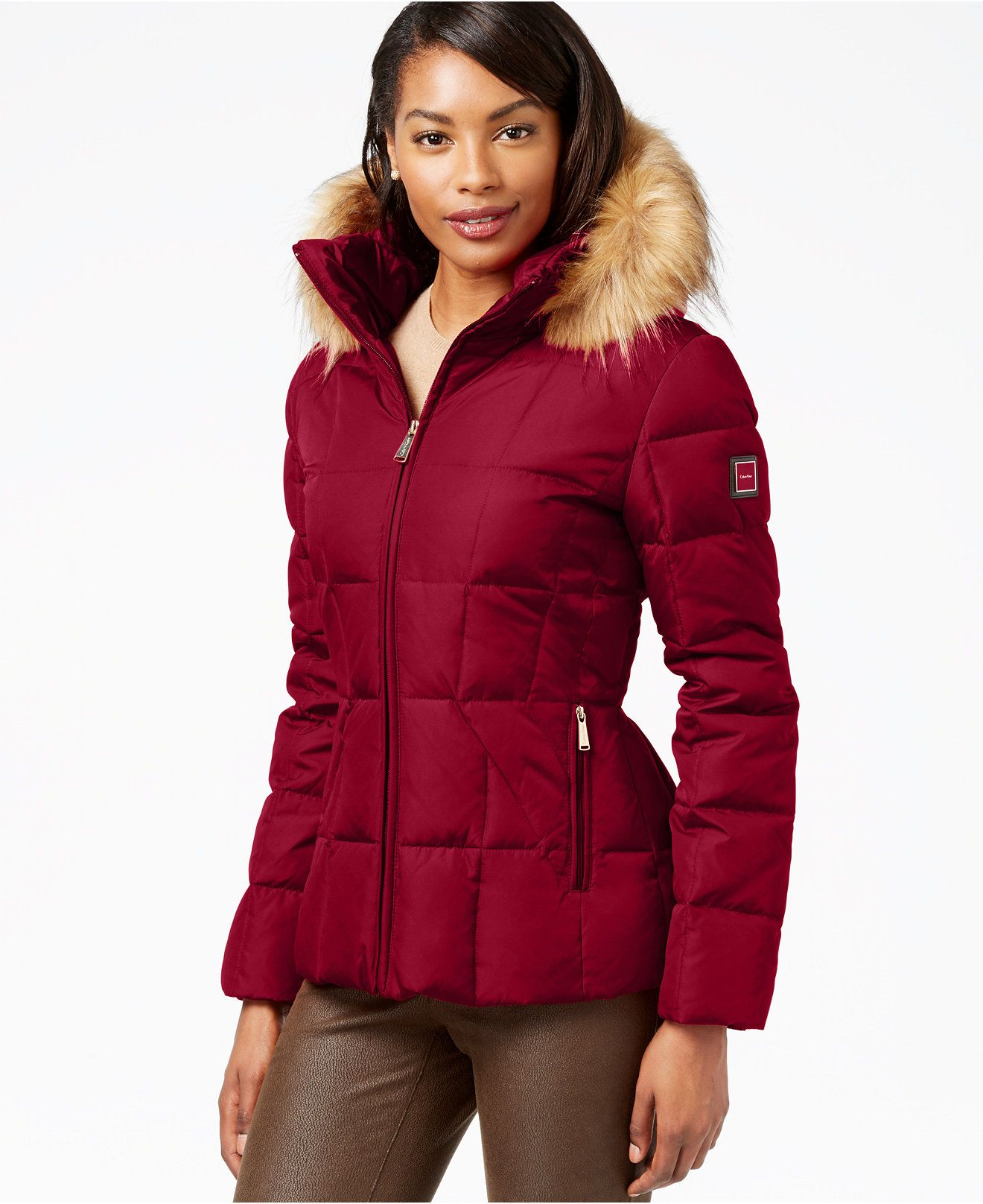 9888d1f13 Calvin Klein Faux-Fur-Trim Hooded Puffer Down Coat - Coats - Women - Macy's  BURGUNDY