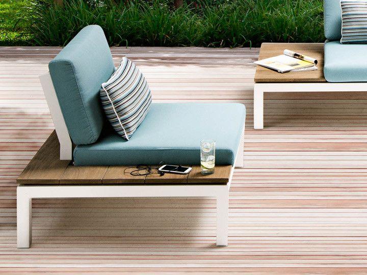 Pebble Beach Lounge Gartensessel Applebee | Alu Weiß & Stoff Ocean