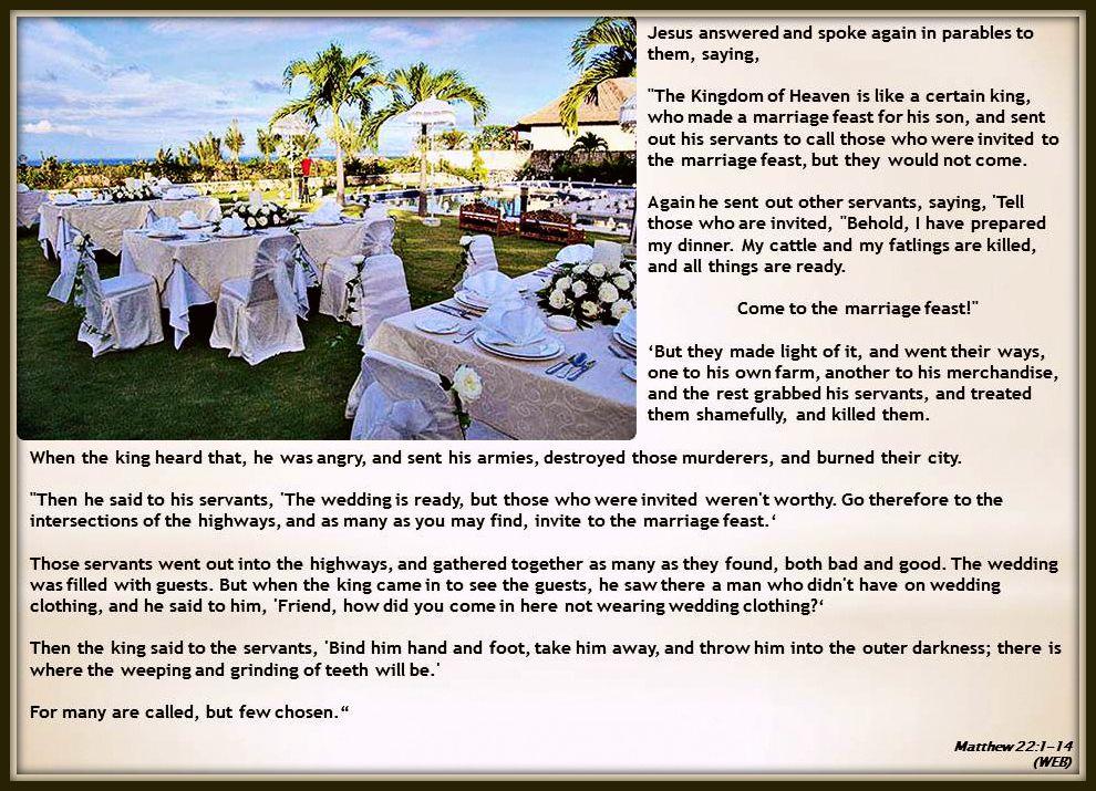Matthew 22 1 14 Parables Of Jesus The Wedding Feast