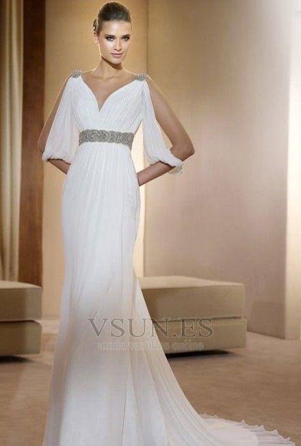 Vestido de novia estilo griego Con velo Abalorio Blanco Moderno Otoño 81d312044501