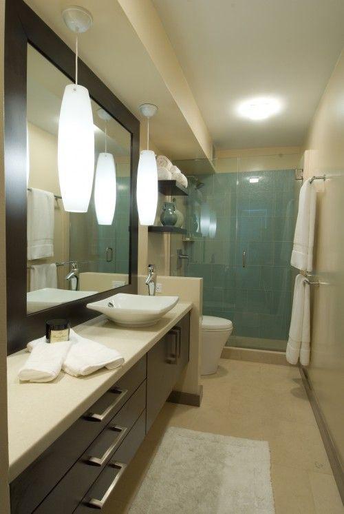 Long Narrow Bathroom Not A Fan Of The Modern Toilet Sink The Room Needs A Window Skylight Narrow Bathroom Designs Narrow Bathroom Mid Century Modern Bathroom