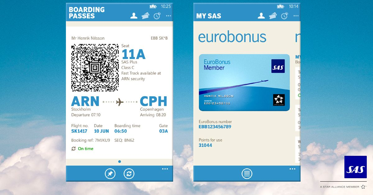 Hi There We Re Sas The Airline Of Scandinavia In This First Windows Phone Version Of Our Popular App We Give You Access To Your Eurobonus Information And The