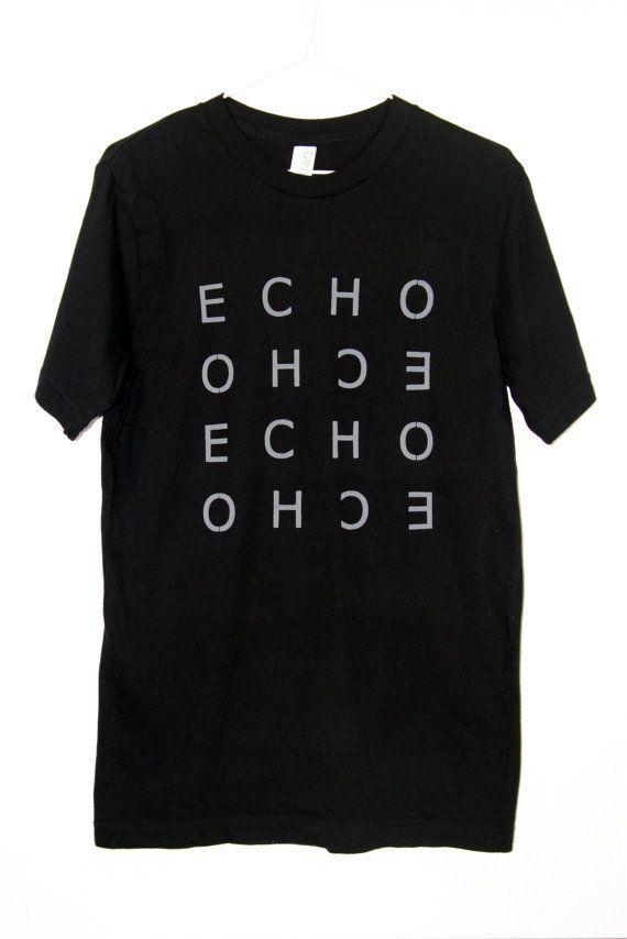 45a49b61f Men's T-shirt Echo Black White Gray Lettering Minimalist Graphic Modern  Stylish…