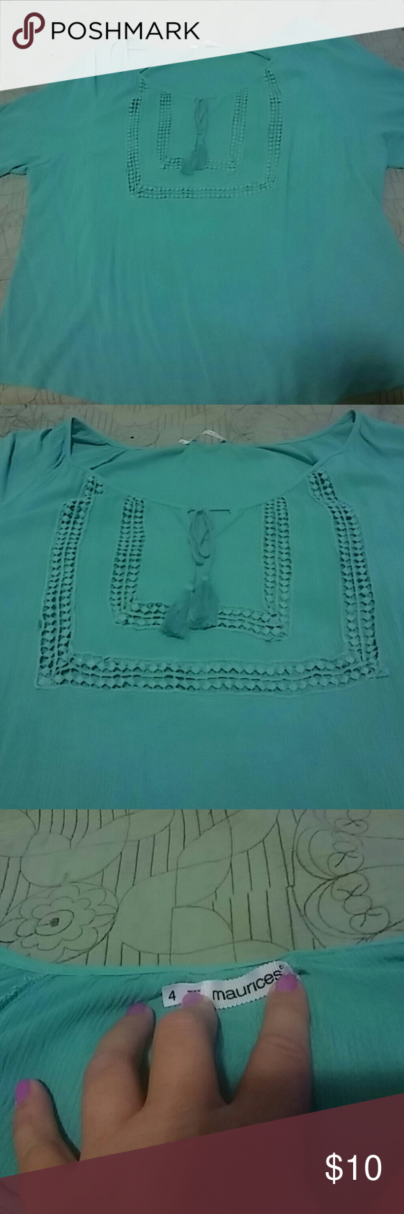 Maurices Boho top size 4 Plus size, size 4 Maurices light Teal color or Macrame and tassles.  Super cute, barely worn once.  Just not my style. Maurices Tops Blouses