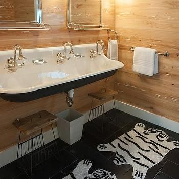 Cottage Mudroom With Black Trough Sink And Three Faucets With