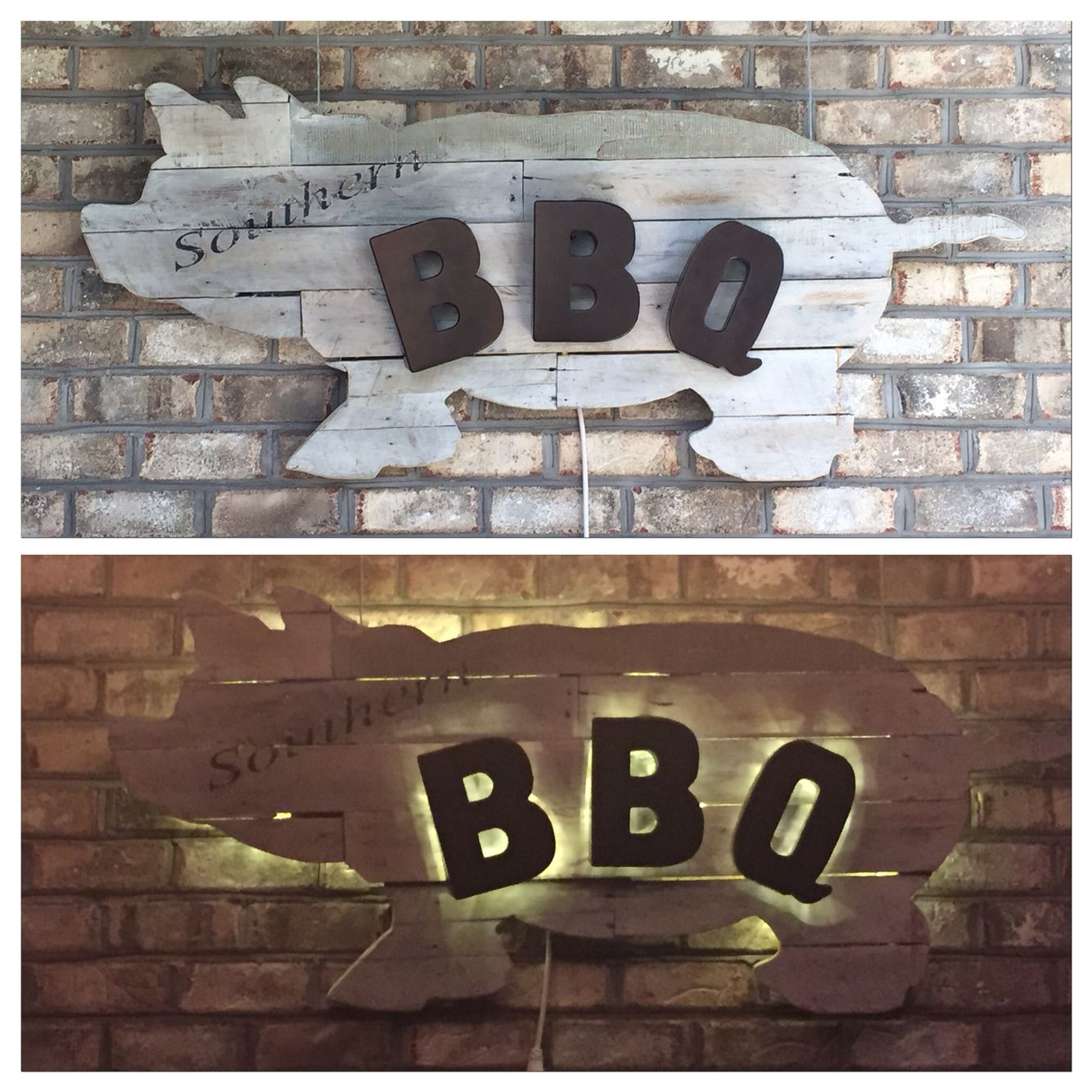 Bbq pig sign made by my husband from old pallets there is