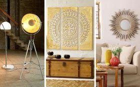 Goldene Glanzende Wohnaccessoires Wohnzimmer Wand Farbe Bilder