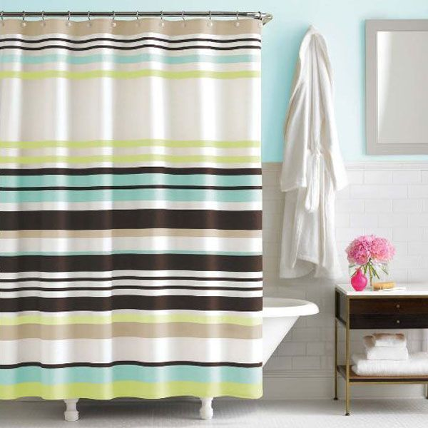 Kate Spade Candy Shop Stripe Shower Curtain Chocolate Brown Blue Green White