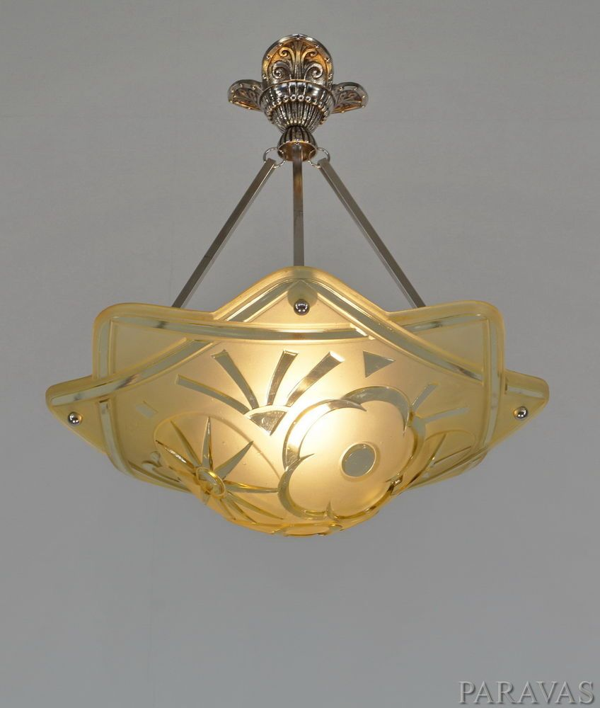 Degue french 1930 art deco chandelier pendant lustre lamp degue french 1930 art deco chandelier pendant lustre lamp lampe muller era arubaitofo Images