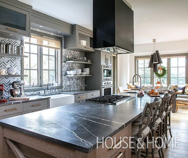 An Elegant Vintage Home With Subtle Holiday Sparkle Kitchen Island With Cooktop Kitchen Hood Design Contemporary Kitchen