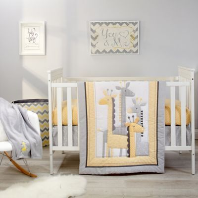 Little Love By Nojo Giraffe Time 4 Piece Crib Bedding Set In Yellow
