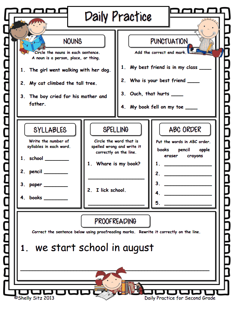 small resolution of page 1 of Daily Practice.pdf   2nd grade writing